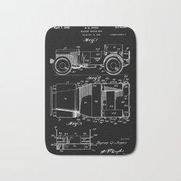 Jeep: Byron Q. Jones Original Jeep Patent - White on Black Bath Mat