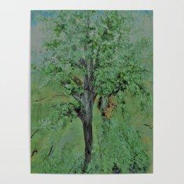 Palette Knife Tree on Wood Poster