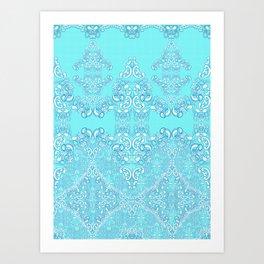 Aqua Damask Art Print