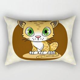 Cute baby cat leopard cartoon Rectangular Pillow