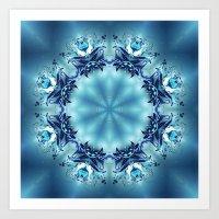 snowflake Art Prints featuring Snowflake by Mr. Pattern Man