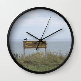 Caution (American black crow on caution sign) Wall Clock