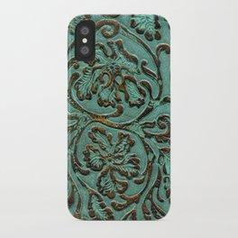 Aqua Flowers Tooled Leather iPhone Case