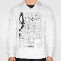 memphis Hoodies featuring Memphis Map Gray by City Art Posters