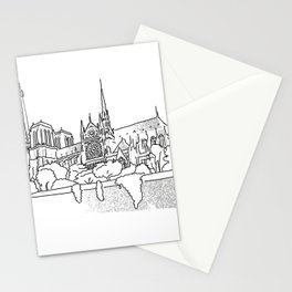 Notre Dame and Eiffel Tower travel scene Stationery Cards