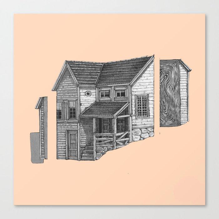 black house on pink something Canvas Print