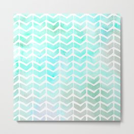 Tempting Teal Watercolor Chevron Arrow Pattern Metal Print