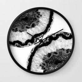 Gray Black White Agate Glitter Glamor #2 #gem #decor #art #society6 Wall Clock