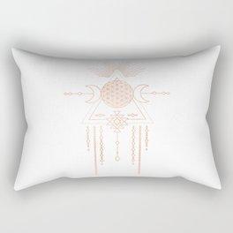 Mandala Flower of Life Moon Pink Rose Gold Rectangular Pillow
