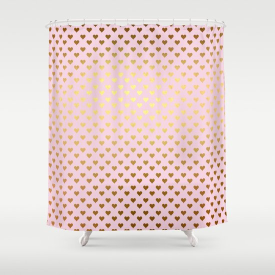 Princesslike Pink And Gold Elegant Heart Ornament Pattern Shower Curtain By