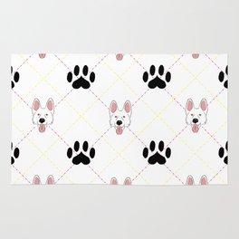 White German Shepherd Paw Print Pattern Rug