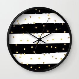 Black and white grunge striped background with Gold confetti Wall Clock