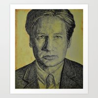 mulder Art Prints featuring Mulder  by Jenn
