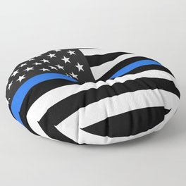 Thin Blue Line American Flag Floor Pillow