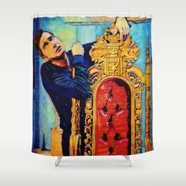 Colorful Demon Crowley and Chair Shower Curtain