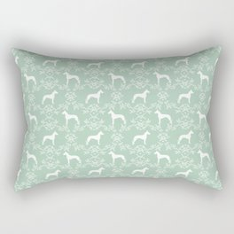 Great Dane floral silhouette dog breed pattern minimal simple mint and white great danes silhouettes Rectangular Pillow