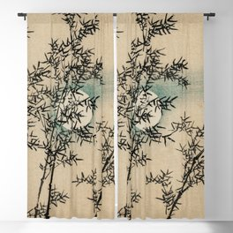 Bamboo Branches Traditional Japanese Flora Blackout Curtain