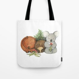 Native Australian Animal Babies – With Koala, Wombat And Echidna Tote Bag