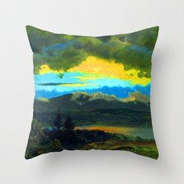 Frederic Edwin Church Sunset Across the Hudson Valley Throw Pillow