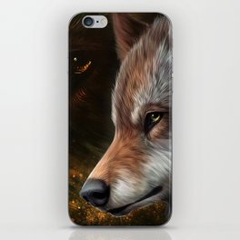 The head of a wolf painting.   iPhone Skin