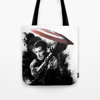 steve rogers Tote Bags featuring Steve Rogers: Shadow Edition by NKlein Design