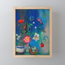 Flowers in Cobalt Framed Mini Art Print