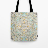 bedding Tote Bags featuring Gypsy Floral in Soft Neutrals, Grey & Yellow on Sage by micklyn