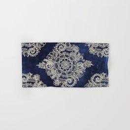 Cream Floral Moroccan Pattern on Deep Indigo Ink Hand & Bath Towel