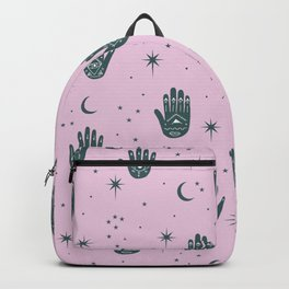 Magic Universe Moon phase and stars fortune telling hamsa pink Backpack