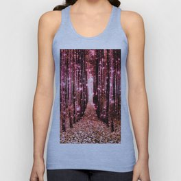 Magical Forest Vibrant Pink Living Coral Unisex Tank Top