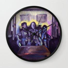 3 poets drink tea at Y-hut Wall Clock