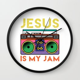 Jesus Is My Radio Jam A Colorful 80's Design T-shirt Design Vintage Retro Colorful Boombox  Wall Clock