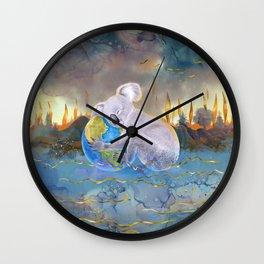 Koala Loves Earth - Australian Surreal Climate Change  Wall Clock