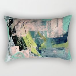 Connect [4] : a vibrant acrylic abstract in neon green, blues, pinks, & hints of orange Rectangular Pillow