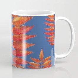 Staghorn Sumac leave on blue Coffee Mug