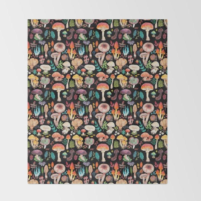 Mushroom heart Throw Blanket