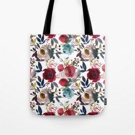 Hand painted burgundy coral teal watercolor botanical roses Tote Bag