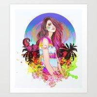 scorpio Art Prints featuring Scorpio by Sara Eshak