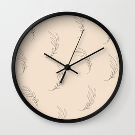 Minimalist leaves, almond Wall Clock