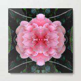 Pink  Rose Mandala Abstract Design Metal Print