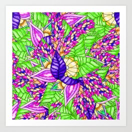 Bright purple green floral pattern waercolor illustration Art Print