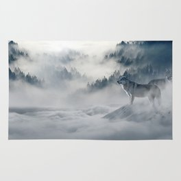 Wolves loup 2 Rug