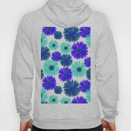 Aqua Purple Blue Sunflowers Gerbera Daisy Bold Flower Pattern on White Hoody
