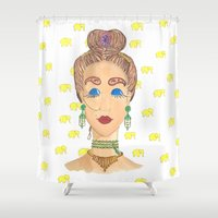meditation Shower Curtains featuring MEDITATION by Hazal Türer