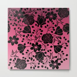Simple Black Floral and Swallow Print Pink Ombre Metal Print