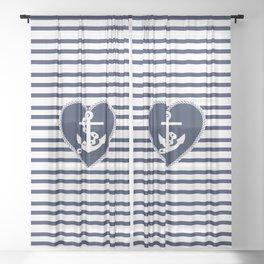 Modern navy blue white heart anchor nautical stripes Sheer Curtain