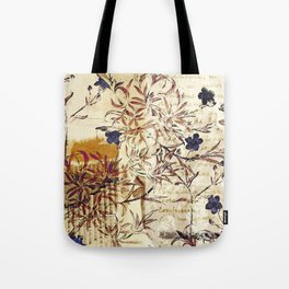 Vintage floral collage on paper Tote Bag