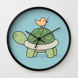 Kawaii Cute Tortoise And Bird Wall Clock