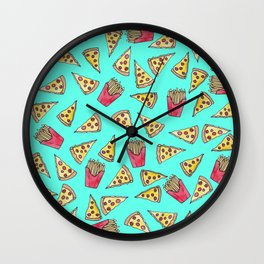 Pepperoni Pizza French Fries Foodie Watercolor Pattern Wall Clock