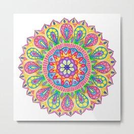 Summer Dewdrop Mandala Metal Print